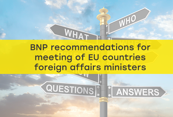 BNP recommendations for Gymnich meeting of EU countries foreign affairs ministers