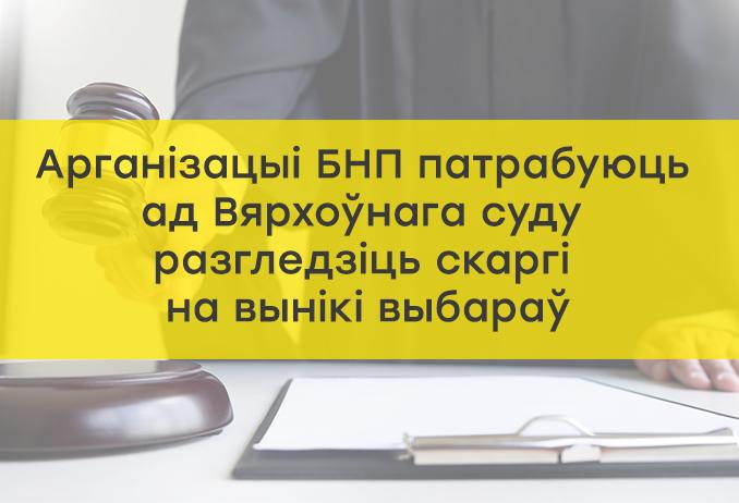 Арганізацыі БНП патрабуюць ад Вярхоўнага суду разгледзіць скаргі на вынікі выбараў.